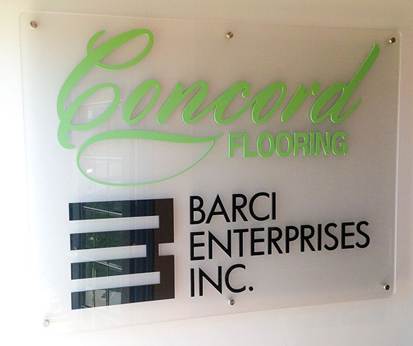 office sign with cut acrylic letters on an acrylic face