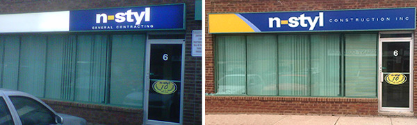 Acrylic Face store-front sign before and after installation