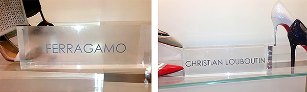 Clear acrylic, frosted vinyl signs