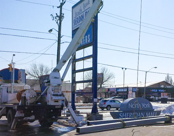 installation of a new illuminated pylon sign