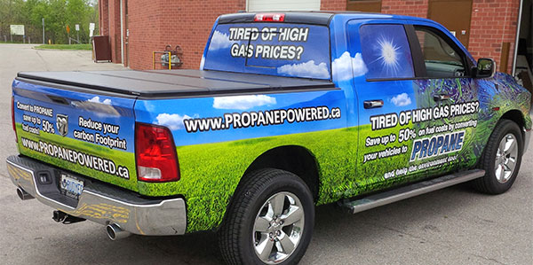 pick-up truck advertising wrap