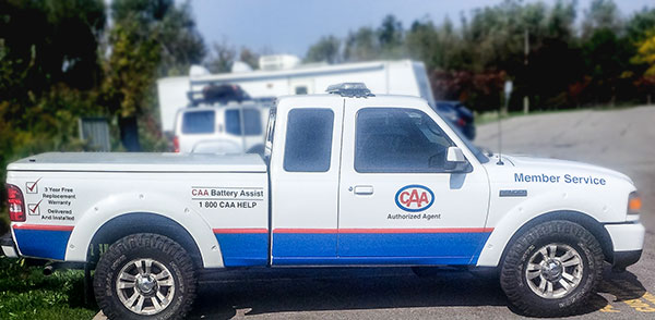 vinyl decals on a pickup service truck